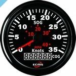 Спидометр ECMS GPS 35 узлов, 85 мм, черный