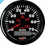 Спидометр ECMS GPS 70 узлов, 85 мм, черный